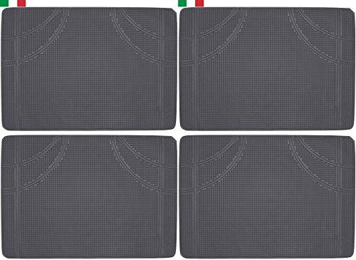 Cenni 34954 Lot de 4 Tapis de Voiture en Caoutchouc Rectangulaires 52 x 37, Sauve Moquette, Made in Italy