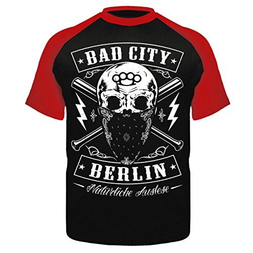 Männer und Herren T-Shirt Bad City BERLIN Schwarz/Rot