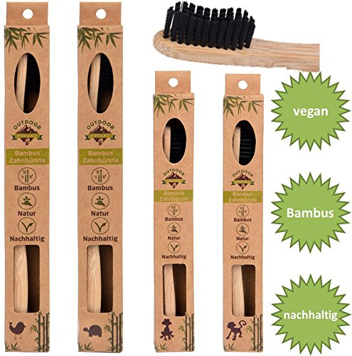 4er Family-Pack ♻ Bambus Zahnbürste mit reinem Bambus-Holz ✮ vegan ✮ biologisch abbaubar ✮ 100% frei von BPA ✮ Borsten mit Bambus-Holzkohle für beste Sauberkeit (Zahnbürste Pack)