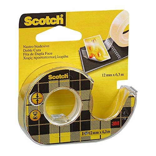 3m scotch nastro biadesivo con dispenser in chiocciola, 12 mm x 6.3 m