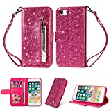 Coque iphone 7, iphone 8 Housse en Cuir LaVibe PU Leather Etui Portefeuille à Rabat Glitter Clapet Support Fermeture éclair Porte Video Stand, Flip Wallet Protective Case Cover–Rose Rouge