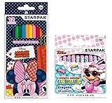 Disney Minnie Mouse- Set 24 Teile: 12 Wachsmalstifte + 12 Buntstifte - Tolles Geschenk für Schulanfang Zum Befüllen der Schultüte