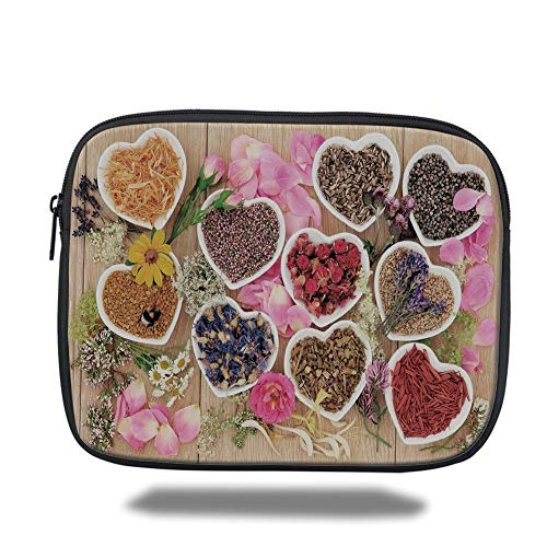 Tablet Bag for Ipad air 2/3/4/mini 9.7 inch,Floral,Healing Herbs Heart Shaped Bowls Flower Petals on Wooden Planks Print Healthcare Decorative,Multicolor,3D Print