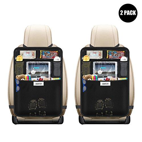 AOAFUN 2 Stück Auto Rückenlehnenschutz,Auto Rücksitz-Organizer für Kinder,Große Taschen und iPad-/Tablet-Fach, Mit Touchscreen,Kick-Matten-Schutz in Universeller Passform.