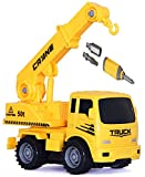 #10: Toys Bhoomi 2-in-1 Friction Powered Take-A-Part Construction Vehicle Crane Truck Playset
