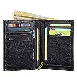 Portefeuille Homme RFID Blocage,Lensun Bifold Portefeuille en Cuir Pur pour Monnaie | Titulaire de Carte de Crédit | Portefeuille de Voyage avec Boîte de Cadeau - Noir (LS-ZB-BK)
