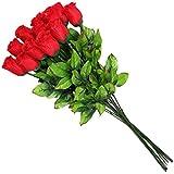 Schramm Onlinehandel (0551) Rose rosse artificiali, in seta, 45 cm, 12 pezzi