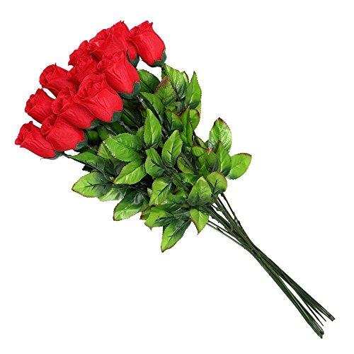 Schramm Onlinehandel S/O 24er Pack Rote Rosen 65cm Baccararrose Kunstblumen Seidenblumen Bunte Rose