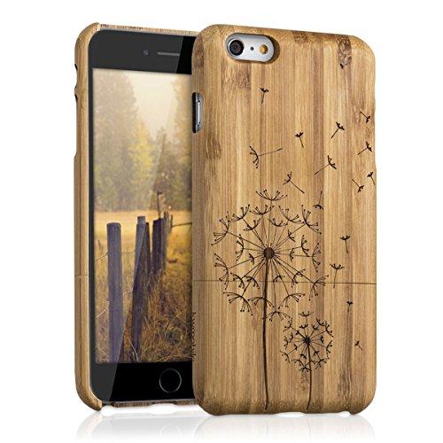 kwmobile Custodia in legno per Apple iPhone 6 Plus / 6S Plus Cover legno naturale bambù Design soffione - Case rigida per cellulare Design soffione marrone chiaro