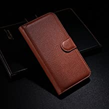 Qiaogle Teléfono Case - Funda de PU Cuero Billetera Clamshell Carcasa Cover para Alcatel Onetouch Idol Alpha OT-6032 / 6032A / 6032X - FC05 / Marrón Moda Elegante estilo