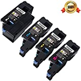 E-MALL® Full Set ColourDirect Compatible Laser Toner Cartridges Replacement For Dell C1660 C1660W C1660DW C1660CN C1660CNW Printers 1 Black 1 Cyan 1 Magenta 1 Yellow