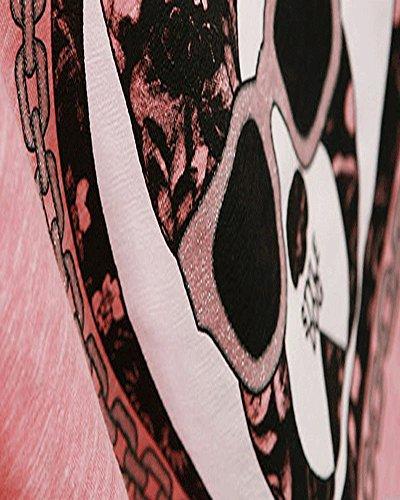SaiDeng Femme Impression Casual Deux-pièces Manche Courte T-Shirt At Septième Pantalon Pink Noir