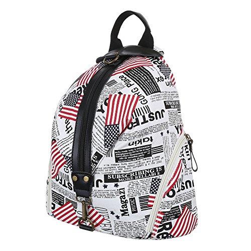 Rucksack Freizeit Backpack Tasche Weiß Multi Schwarz