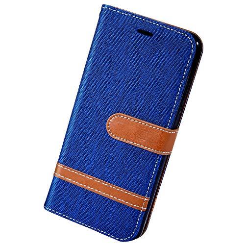 Herbests Kompatibel mit Xiaomi Redmi 7A Handy Hülle Herren Männer Retro Vintage Leder Hülle Schutzhülle Flip Case Cover Brieftasche Wallet Tasche Kartenfach Standfunktion,Blau