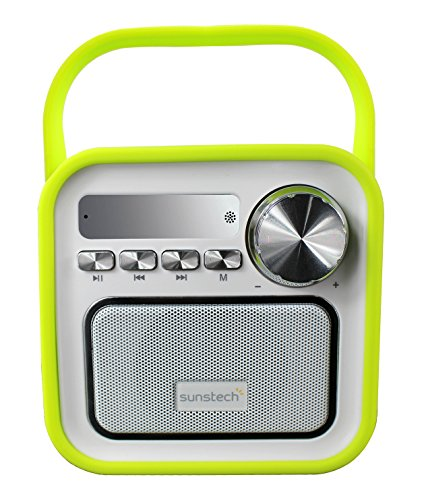 Sunstech RPBT420GN Digitales FM-Radio mit Lautsprecher, Bluetooth, Mikrofon, USB, SD, AUX-in, 2,5 W RMS, Retro-Design, Grün
