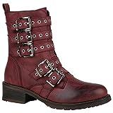 Damen Stiefeletten Lack Worker Boots Schnürstiefel Zipper Schuhe 148727 Dunkelrot Schnallen 39 Flandell