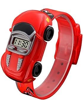 Niedlich Kreativ Karikatur Spielzeuguhr Auto Digital Armbanduhren für Kinder Jungen, Rot