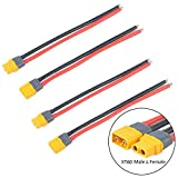 2 Paar XT60 Plug Male Female Connector with Sheath Housing Connector with 150mm 12AWG Silicon Wire for RC Lipo Battery FPV Drone