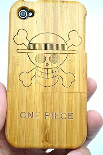 RoseFlower® Coque iPhone 4S / iPhone 4 en Bois Véritable - Lézard noyer - Fabriqué à la main en Bois / Bambou Naturel Housse / Étui avec Gratuits Film de Protecteur Écran pour votre Smartphone Crânedebambou
