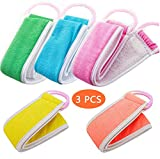 3pcs Loofahs Exfoliating Loofah Back Scrubber For Shower Double Side Scrubbing Strap Body
