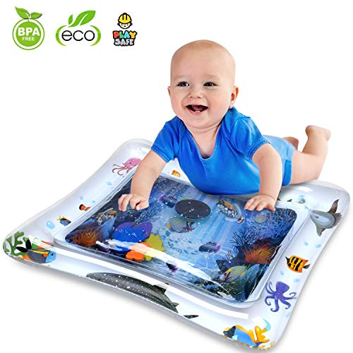 Inflatable Tummy Time Mat Water Play Mat for Infants & Toddlers Fun Play Activity Baby Playmats Leakproof Water Mat Toy for Baby's Stimulation Growth BPA Free Water Filled Playmat Baby Boy Girl