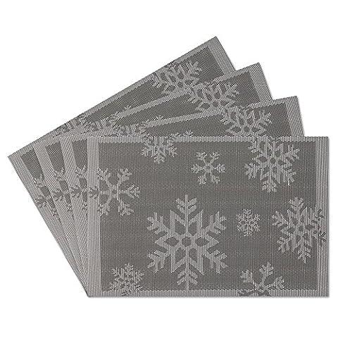 SueH Design Lot de 4 Sets de Table 45 * 30 CM Vinyle Tissé Gris
