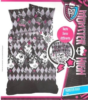 Set aus Bettbezug Bettwende FLANELL Monster High - GESICHT - 140 x 200 cm Kissenbezug - Bettbezug Flanel (Flanell Monster High Bettwäsche)