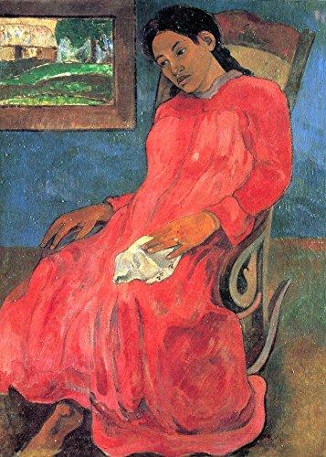 Das Museum Outlet–Frau in Rot Kleid von Gauguin–Poster Print Online kaufen (76,2x 101,6cm)
