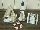 Küstenambiente 4tlg. Deko-Set Leuchtturm 13cm Truhe, Rettungsring & Boot Maritime Dekoration
