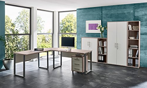Büromöbel Arbeitszimmer komplett Set Office Edition (Set 4) in Sandeiche/Weiß