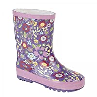 Stormwells Girls Floral Print Short Wellington Boots Mauve/Pink UK 2 (Junior)