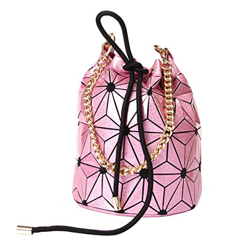 Hotone Kordelzug Eimer Tasche Geometrie Scherbe Gitter Handtasche Pu-leder Schultertasche Für Frauen RoseRed
