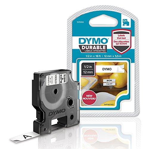 Dymo 1978364 D1 Hochleistungs-Etikettenband (für LabelManager-Etikettendrucker, schwarz auf weiß, 12mm B x 5,5m L) 1 Kassette