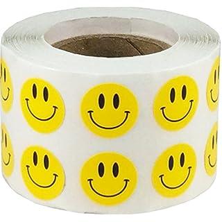 Gelb Glücklich Gesicht Kreis Punkt Aufkleber, 13 mm 1/2 Zoll Runde, 1000 Etiketten auf einer Rolle