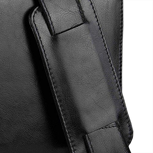 STILORD Cartella per uomo Valigetta portadocumenti Borsa elegante classica da lavoro business Laptop Notebook pelle nero Nero