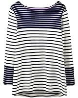 Joules Ladies Harbour Stripe Pattern Jersey Cotton Long Sleeve Top