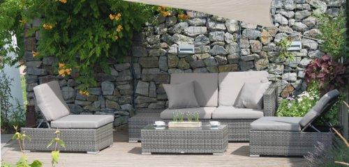 VARILANDO multifunktionale 4-teilige Lounge-Gruppe aus grauem Kunststoffgeflecht Sitzgruppe...