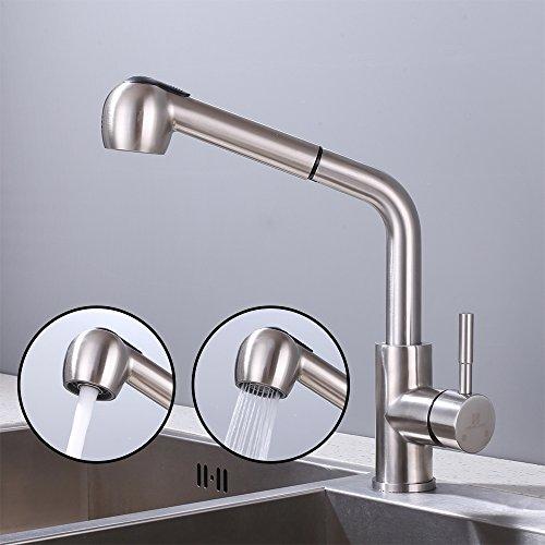 Homelody 360° drehbar Wasserhahn Küche mit 2 Strahlarten, ausziehbarer Küchenarmatur einhebelmischer Spültischarmatur mit brause Küchenspüle