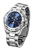 FIREFOX Mondphasenuhr FFS01-503 sunray blau massiv Edelstahl Damenuhr Herrenuhr Armbanduhr Sicherheitsfaltschließe 10 ATM wasserdicht