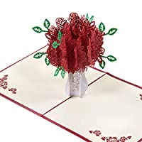 Czemo 3D Greeting Card with Envelope Rose Bouquet Pop Up Card, Wedding Card, Birthday Card, Valentine