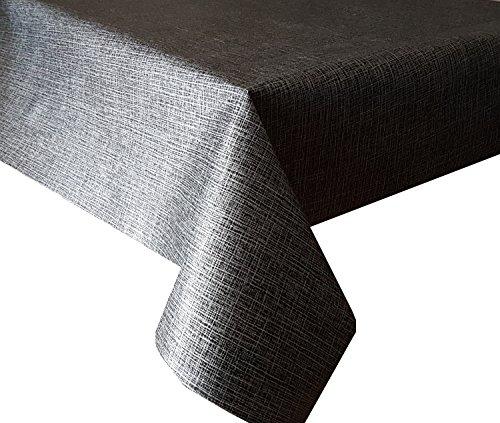 Nappe en PVC Aspect lin Noir 3.5 metres (350 cm x 140 cm), Criss Cross chaume fils Flammés Effet métallisé, Charbon de bois, facile à nettoyer, vinyle/plastique Nappe