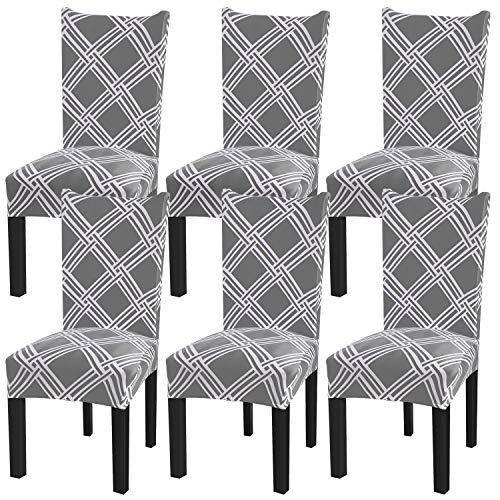 Fuloon coprisedie con schienale 6 pezzi elasticizzato copertura della sedia per una misura universale, coppia spandex coprisedia molto facile da pulire e di lunga durata (grigio/griglia, 6 pezzi)