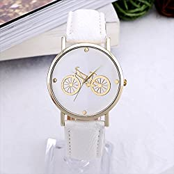 Hot sale Leather Strap Gold Round Dial Watch Bicycle Design Cartoon watches Relojes Fashion Casual Quartz Watch Women Hour Gift