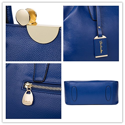 BOSTANTEN Vera Pelle Borsa Donna Sacchetta Tote a Spalla Manico Bowling Bag Top-Handle blu