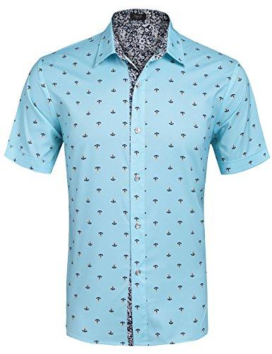 Hasuit Men's Straight Fit Printing Casual Short Sleeve Shirts