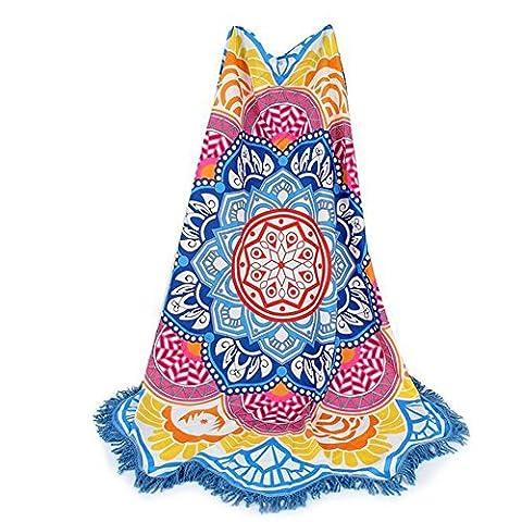 iBaste Strandtücher Mehrfarbig Lotus Blumen runde- Tischdecke-Wandteppich-Picknickdecke-Schal, Himmel Blau