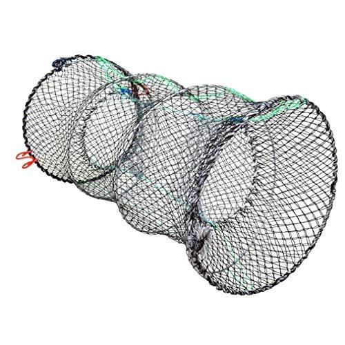 Poualss 1 Stück Krabbenfalle Crawfish Collapsible Cast Net Fischernetze schwarz tragbare gefaltete Angelzubehör