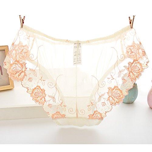 Rey&qing Das Mädchen Blumenstickerei Taille Baumwolle Unterwäsche Slip Datei, 83-95 Hip Umfang, Champagner Farbe