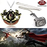 (2 Pcs AVENGER SET) - IRONMAN HANDS (GOLD) & THOR HAMMER (SILVER) IMPORTED PENDANTS WITH CHAIN. LADY HAWK DESIGNER SERIES 2018. ❤ ALSO CHECK FOR LATEST ARRIVALS - NOW ON SALE IN AMAZON - RINGS - KEYCHAINS - NECKLACE - BRACELET & T SHIRT - C