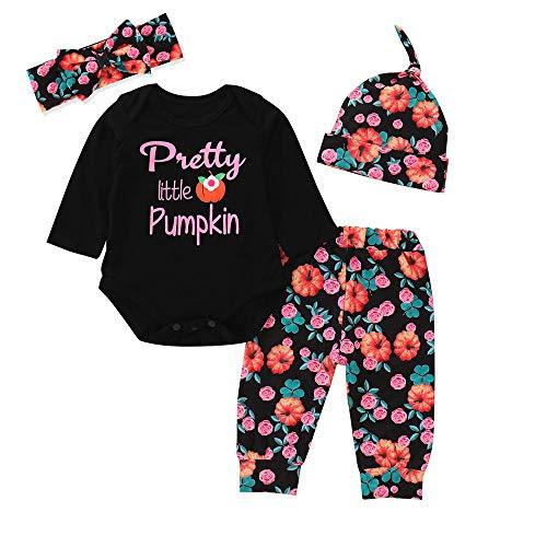 Bestow Baby Pumpkin Halloween 4 Piezas Set CapClothes Princesa Pantalones Letter Romper Manga Larga(Negro,80)